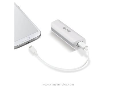 CELLY POWERBANK 2600 MAH CON CABLE MICRO USB COLOR BLANCO PB2600WH