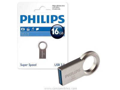 PHILIPS MEMORIA USB 3.0 16GB CIRCLE EDITION ACERO INOXIDABLE FM16FD145B