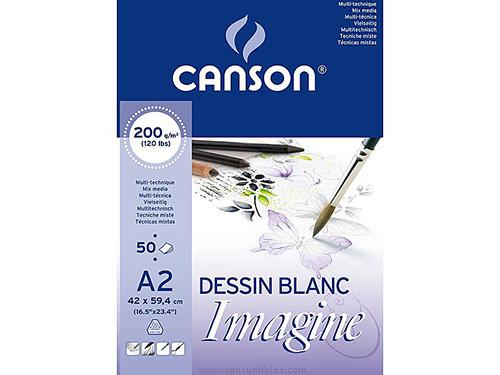 ENVASE DE 3 UNIDADES CANSON BLOC IMAGINE 50 HOJAS 200G. A2 200006003