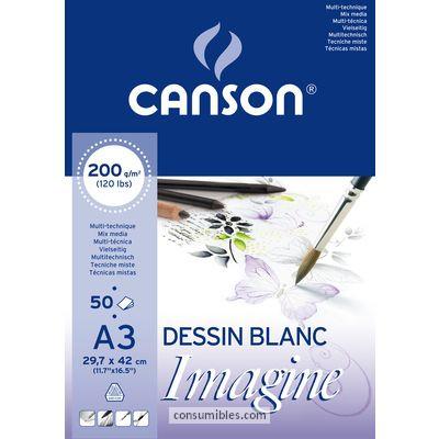 ENVASE DE 5 UNIDADES CANSON BLOC IMAGINE 50 HOJAS 200G. A3 200006007