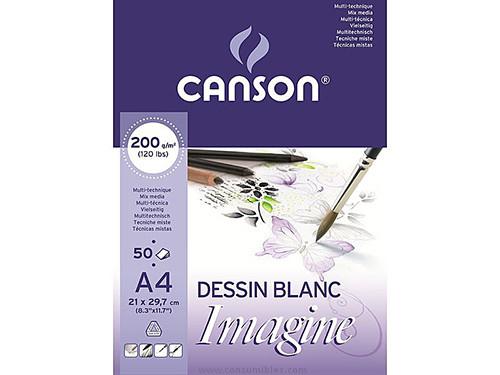 ENVASE DE 5 UNIDADES CANSON BLOC IMAGINE 50 HOJAS 200G. A4 200006008