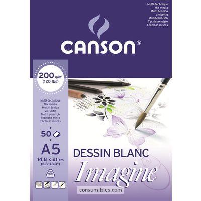 ENVASE DE 5 UNIDADES CANSON BLOC IMAGINE 50 HOJAS 200G. A5 200006009