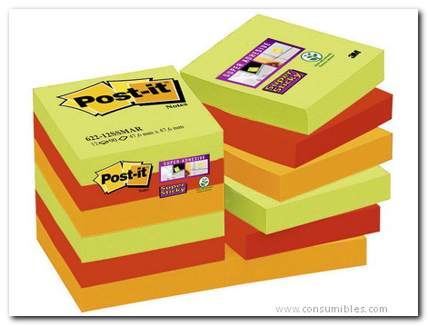 POST-IT PACK 12 BLOCS 47,6X47,6 MM MARRUECOS COLORES 4X (ESPARRAGO, AZAFRAN, MORA) 622-12SSMAR-EU