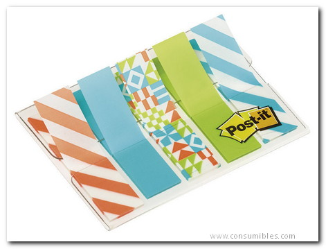 ENVASE DE 6 UNIDADES POST IT INDEX 1/2 PULGADA DECORADO. DISPENSADOR FUNDA 5X20 684 GEO5 EU