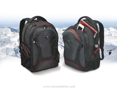 PORT DESIGNS MOCHILA COURCHEVEL 17,3 38X55X24 CM NEGRO-ROJO + RAINCOVER 160511