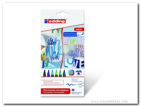 Para ceramica EDDING ESTUCHE 6 ROTULADORES PARA CERAMICA. COLORES FRIOS 4-4200-6099