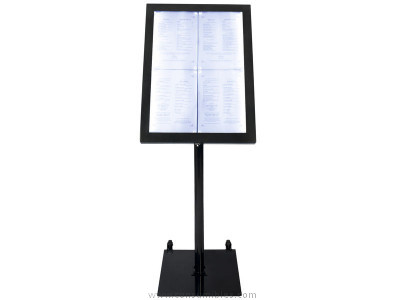 SECURIT EXPOSITOR LUMINOSO LED BLANCO.BASE Y PIE. NCLINABLE. 4XA4 DIMENSIONES 144X50 MCS 4A4 BL SET