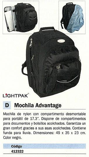 LIGHTPACK MOCHILA PARA PORTATIL ADVANTAGE PARA PORTÁTIL DE 17 PULGADAS 49X35X23 CM NEGRO 46090