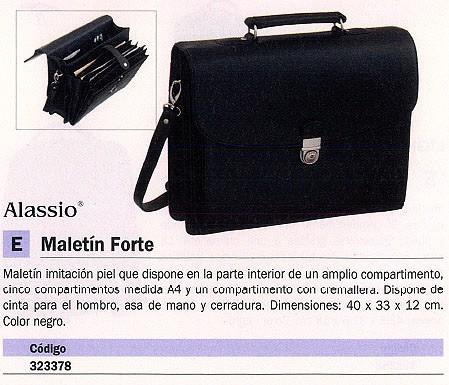 ALASSIO MALETÍN FORTE IMITACIÓN PIEL 40X33X12CM NEGRO 92011