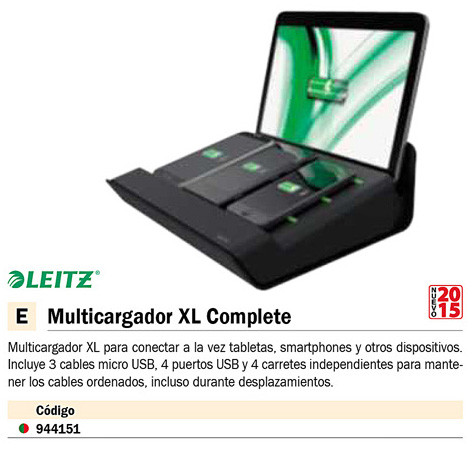 LEITZ MULTICARGADOR XL COMPLETE USB NEGRO 62890095
