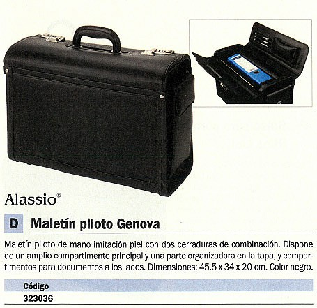 ALASSIO MALETÍN PILOTO GENOVA IMITACIÓN PIEL 45.5X34X20CM NEGRO 45028