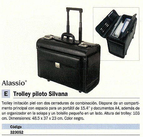 ALASSIO TROLLEY SILVANA IMITACIÓN PIEL 17 PULGADAS 48,5X40X24 CM NEGRO 92301