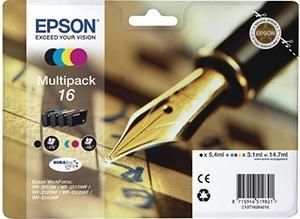CARTUCHO DE TINTA NEGRO-TRICOLOR PACK 4 EPSON 16 - (T1626)