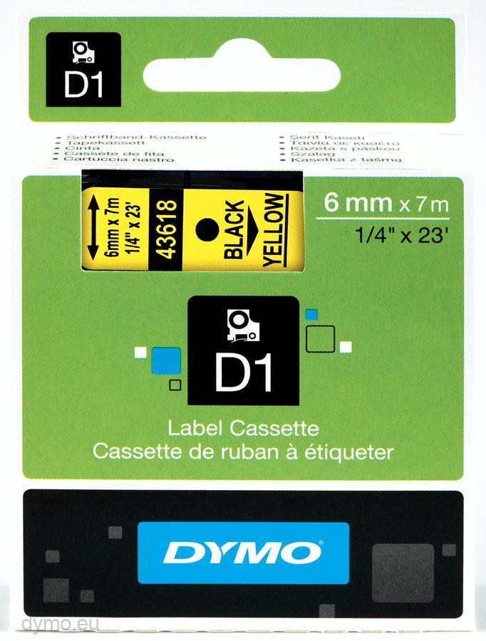 cinta negro sobre Amarillo 43618 6 mm x 7m estándard-D1-cinta Dymo