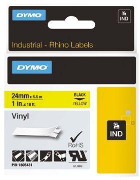 Cinta mecanografico Negro sobre amarillo 1805431 Cinta de vinilo Rhino IND 24mm x 5 5m negro sobre amarillo