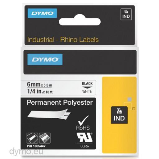 Cinta mecanografico Negro sobre blanco 1805442 Cinta de poliester Rhino IND 6mm x 5 5m negro sobre blanco