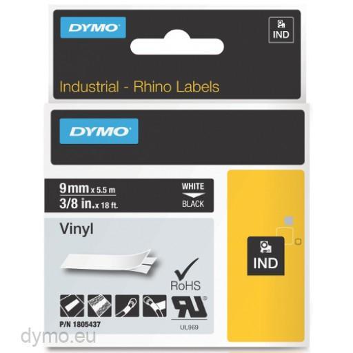 Cinta mecanografico Blanco sobre negro 1805437 Cinta de vinilo Rhino IND 9mm x 5 5m blanco sobre negro