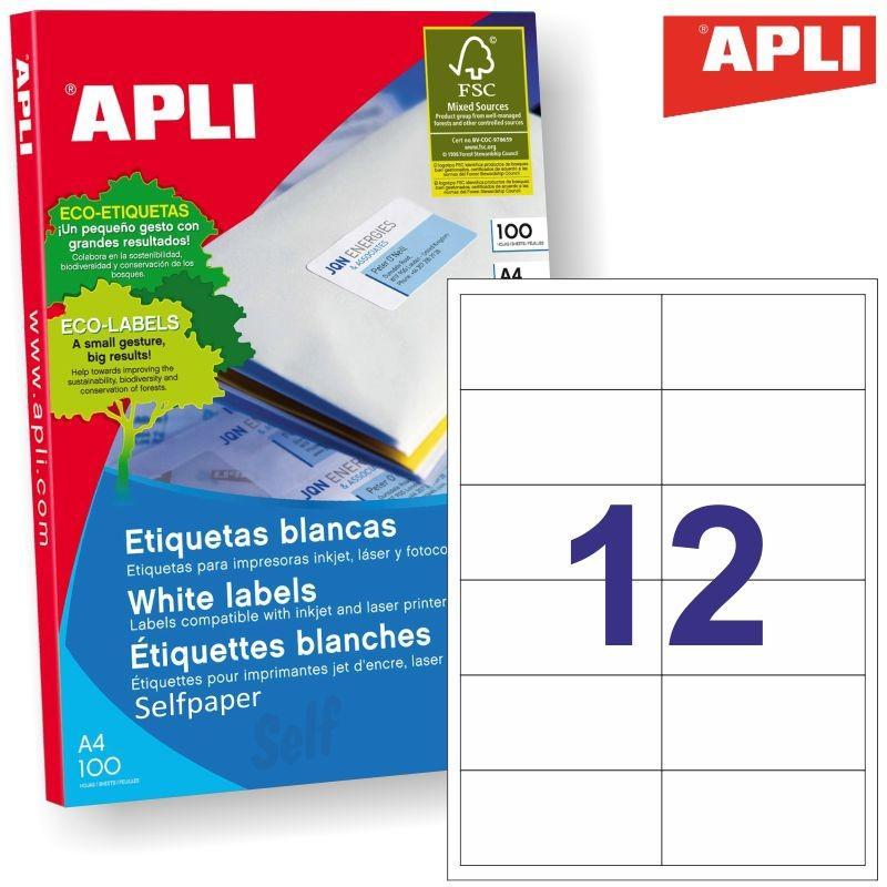 Inkjet Láser Copiadora APLI ETIQUETAS BLANCO PARA IMPRESORA INKJET, LÁSER Y FOTOCOPIADORAS / 97,0 X 42,4MM / CANTOS RECTOS - 100 HOJAS-