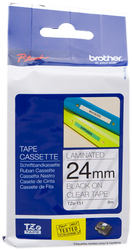 Brother cinta rotuladora laminada Transparente negro 8M 24 mm
