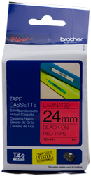 cinta rotuladora Negro sobre Rojo TZ-451 24 mm x 8 m laminado Brother