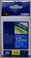 cinta rotuladora Blanco sobre Azul TZ-535 12 mm x 8 m laminado Brother