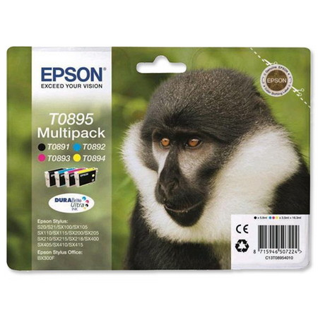 CARTUCHO DE TINTA NEGRO-TRICOLOR 163 ML PACK 4 COLORES EPSON T0895