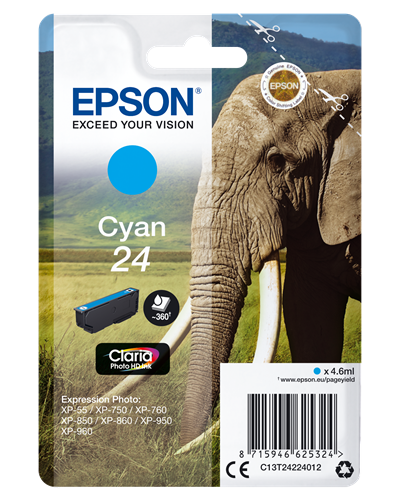 Epson Claria Photo HD Ink Cartucho Cian 24 Expression Photo XP-950