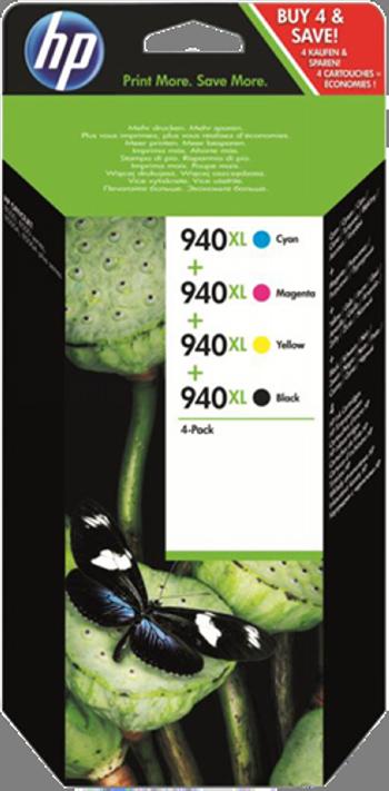 Cartucho de tinta MULTIPACK NEGRO - CIAN - MAGENTA - AMARILLO C4906AE + C4907AE + C4908AE + C4909AE ALTA CAPACIDAD HP Nº 940XL