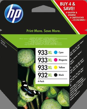 Cartucho de tinta MULTIPACK NEGRO - CIAN - MAGENTA - AMARILLO ALTA CAPACIDAD HP Nº 932XL/933XL