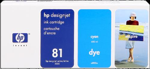 Cartucho de Tinta de Interior Cian 680 ml HP Nº 81