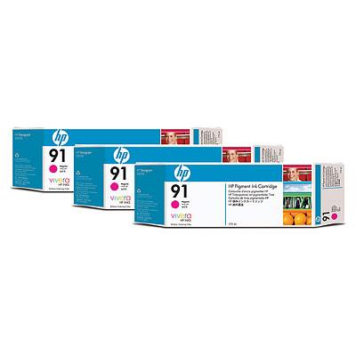 Cartucho de tinta CARTUCHO DE TINTA MAGENTA 775 ML PACK 3 HP Nº 91