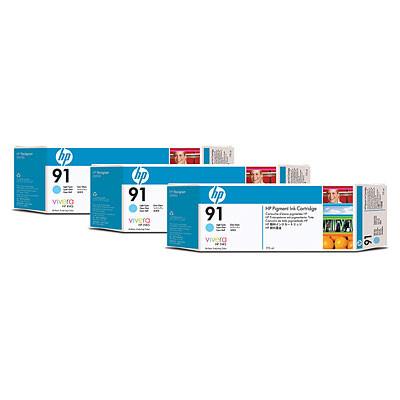 Cartucho de tinta CARTUCHO DE TINTA CIAN CLARO 775 ML PACK 3 HP Nº 91