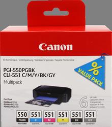 MULTIPACK NEGRO - CIAN - MAGENTA - AMARILLO - GRIS 6 CARTUCHOS DE TINTA: 1X PGI-550 + 1 UD. CLI-551 BK+C+M+Y+GY CANON PGI-550+CLI-551