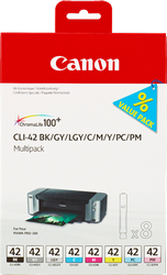 CARTUCHO DE TINTA COLORES CLI-42BK-C-M-Y-PM-PC-GY-LGY PACK 8 CANON CLI-42