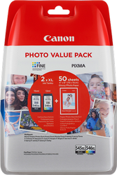 CANON VALUE PACK NEGRO / VARIOS COLORES 2 CARTUCHOS DE TINTA: PG-45XL + CL-46XL + 50 HOJAS 10 X 15 C