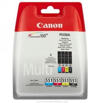 CARTUCHO DE TINTA COLOR MULTIPACK C-M-Y-BK 7 ML CANON CLI-551