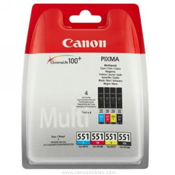 CARTUCHO DE TINTA COLOR MULTIPACK C-M-Y-BK 7 ML CANON CLI-551 para Pixma MG 5450