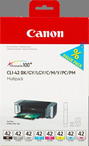 Cartuchos de tinta CANON MULTIPACK NEGRO / CIAN / MAGENTA / AMARILLO / GRIS / / MAGENTA (CLARO) / GRIS (CLARO) CLI-42MULTI 6384B010 8 CARTUCHOS DE TINTA CLI-42: BK +C +M +Y +GY +PC +PM +LGY