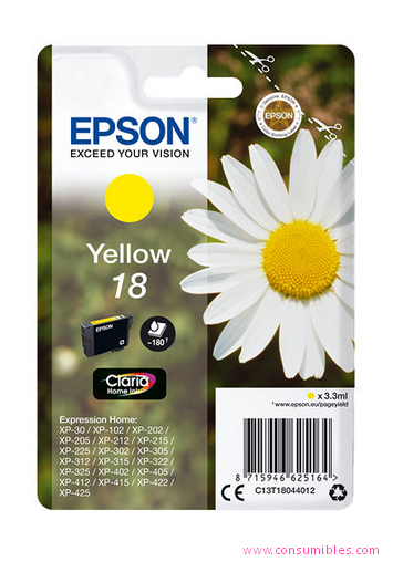 EPSON CARTUCHO INYECCION TINTA AMARILLO 18 CLARIA HOME PACK