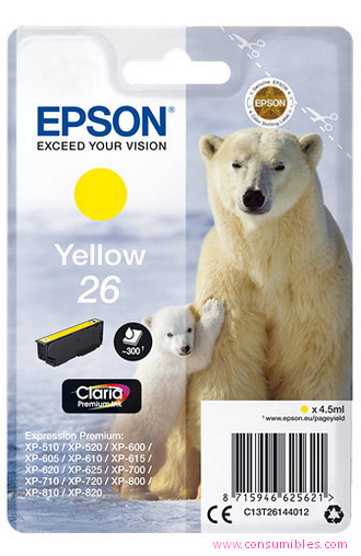 EPSON CARTUCHO DE TINTA AMARILLO C13T26144012 T2614 300 PÁGINAS 4.5ML ESTANDARD