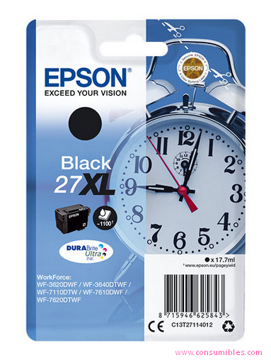 EPSON CARTUCHO TINTA NEGRO 27XL 109ML WF3620/3640/7110/7610
