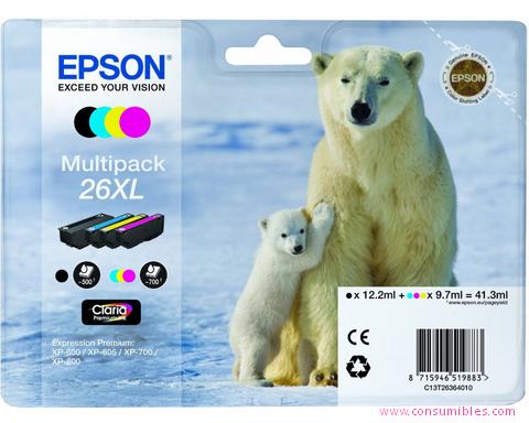 Comprar pack 4 cartuchos de tinta C13T26364010 de Epson online.