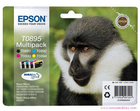 Comprar pack 4 cartuchos de tinta C13T08954010 de Epson online.