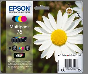 EPSON MULTIPACK NEGRO / CIAN / MAGENTA / AMARILLO C13T18064012 T1806 4 CARTUCHOS DE TINTA: T1801 + T1802 + T1803 + T1804