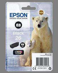 EPSON CARTUCHO DE TINTA NEGRO C13T26114012 T2611 200 PÁGINAS 4.7ML ESTANDARD