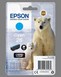 EPSON CARTUCHO DE TINTA CIAN C13T26124012 T2612 300 PÁGINAS 4.5ML ESTANDARD