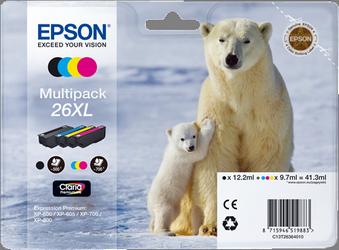 Cartucho de Tinta negro-Tricolor Pack 4 Epson 26 - (T2636)