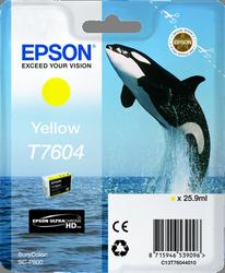 CARTUCHO DE TINTA AMARILLO 25.9 ML ULTRA CHROME HD EPSON T7604