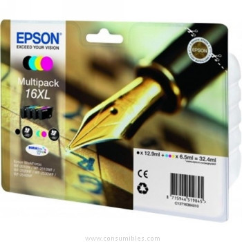 CARTUCHO DE TINTA NEGRO-TRICOLOR PACK 4 EPSON 16 - (T1636)