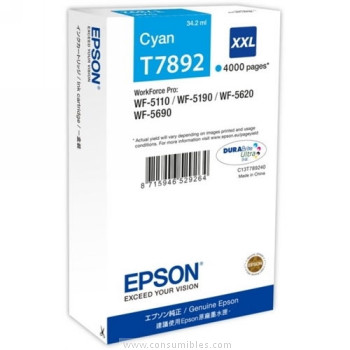 CARTUCHO DE TINTA CIAN 34.2 ML XXL ALTA CAPACIDAD EPSON T7892